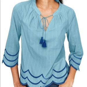 NWOT Boden Willa Peasant Top Blue Embroidered Sz 8